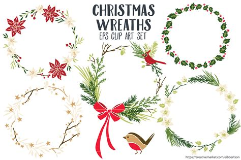 clipart natale free wreaths clipart vector eps illustrations
