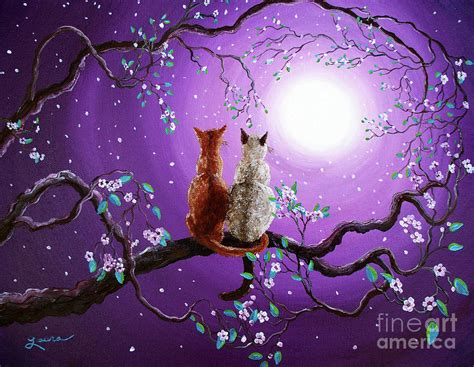 cherry blossom grasses moon and plum blossom painting fullmoon