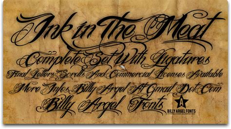 tattoo font download ink in the meat schriftart dafont com