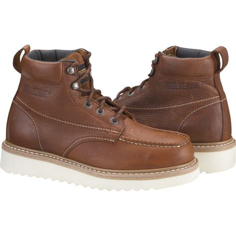 wolverine work boots for product wolverine 174 moc toe wedge heel work boot 6in