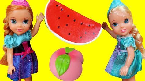 anna  elsa toddlers play  squishy fruit ariel