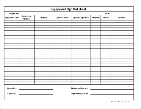 free basic equipment sign out sheet supervisor signature