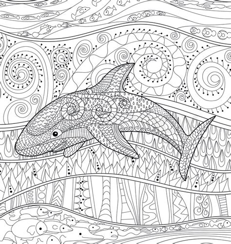 coloring pages for adult in zenart style antistress coloring page happy shark with high details adult antistress coloring