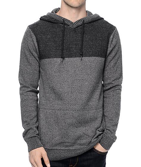 mens knit hoodie dravus roald grey charcoal knit hoodie