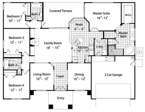 floor plan 4 bedroom 3 bath house floor plans bedroom bath and bedroom house plans square