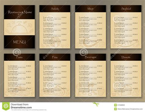 layout menu pages restaurant menu with 7 pages and hand drawn doodle