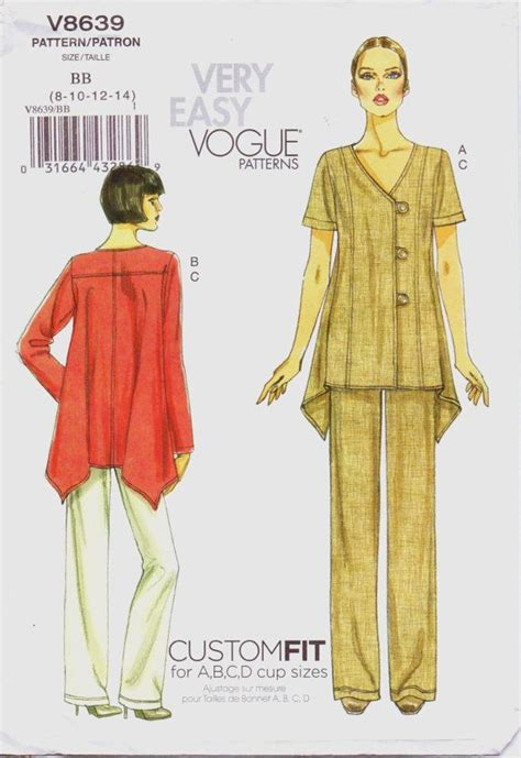 Gea Tunic 1 easy vogue pattern v8639 womens top or tunic custom fit