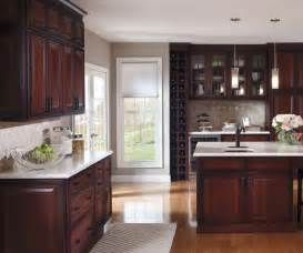 cherry kitchen with glass cabinet doors decora