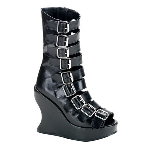 demonia bravo 66 black wedge buckle boots demonia shoes
