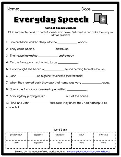 Speech Worksheets by Parts Of Speech Mad Libs Everyday Speech