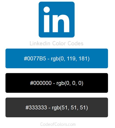 linkedin colors hex  rgb color codes