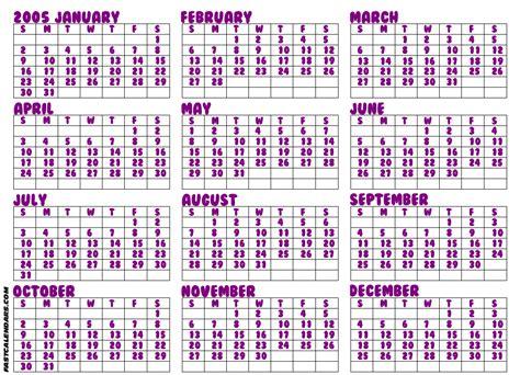 August 2005 Calendar Blank 2005 Year Calendar