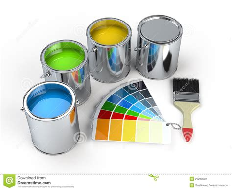pantone paint cans paint cans with brush and pantone stock photography