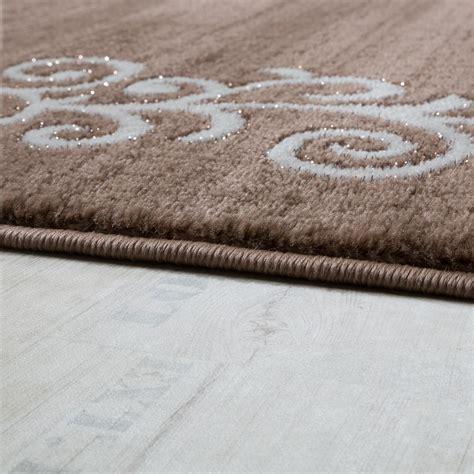 teppich braun beige designer teppich mit floral glitzergarn muster beige wei 223