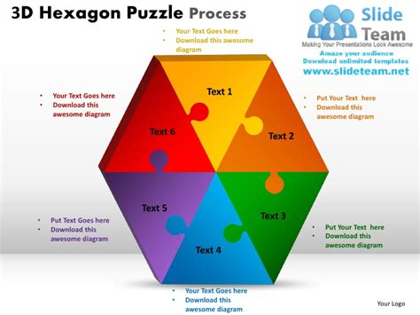 3d hexagon puzzle process powerpoint slides ppt templates