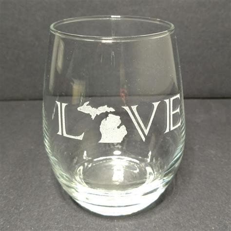 engraved stemless wine glass   michigan products