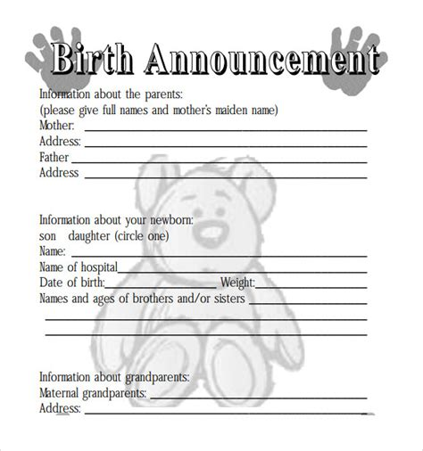 template for announcement sle birth announcement 7 documents in pdf