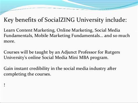 Rutgers Mini Mba Social Media Review by Social Zing Presentation1