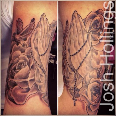 praying hands tattoo with roses religious praying rosary roses and a