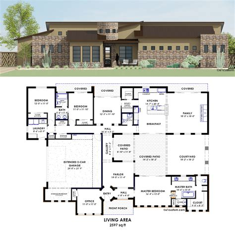 contemporary courtyard house plan 61custom contemporary side courtyard plan
