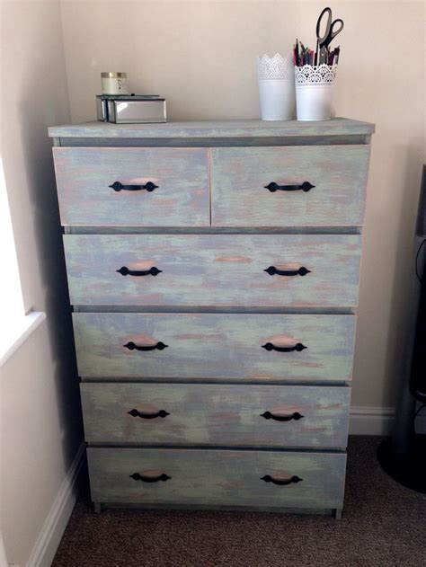 ikea drawer unit bedroom ikea malm 6 drawer unit refurbished and distressed