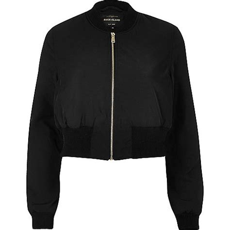 River Island Leather Cropped Jacket by Black Cropped Bomber Jacket Jackets Coats Jackets