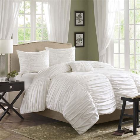 madison park delancey ruched white duvet cover set ebay
