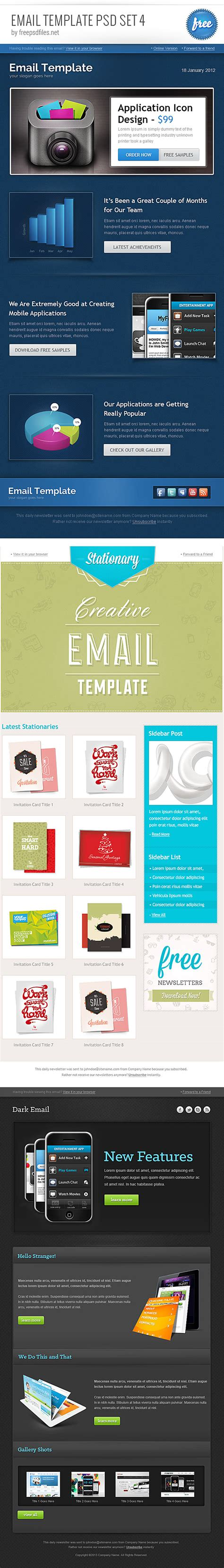 email template psd set 4 free psd files