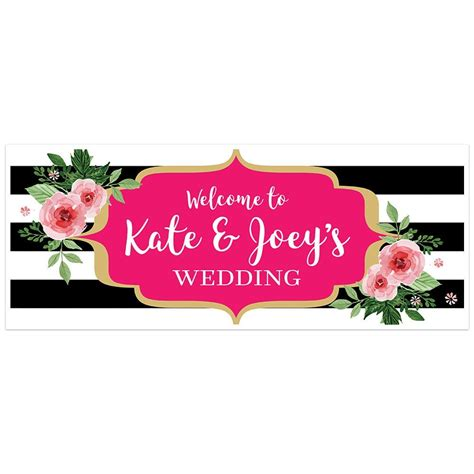 Wedding Banner Black And White by Black And White Striped Floral Welcome To Our Wedding Banner