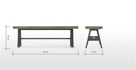 metal dining bench edson dining bench cement and metal made com