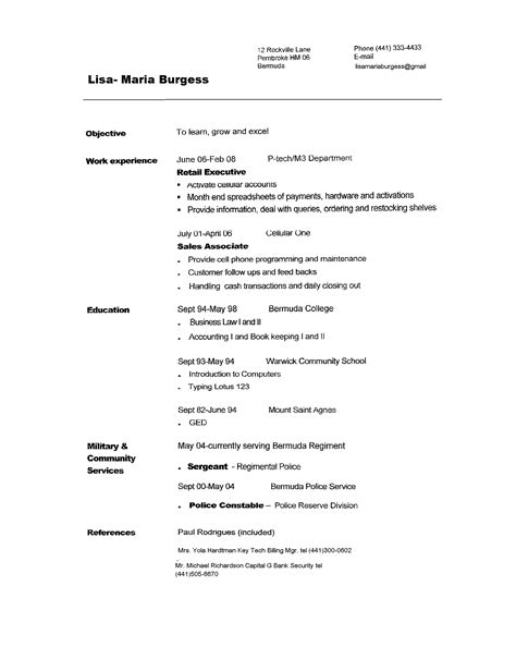 Resume Format Resume Sles To Copy And Paste Copy Paste Resume Template