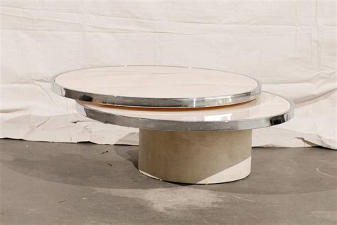 Mid Century Round Rotating Glass Coffee Table In The Style Rotating Glass Coffee Table