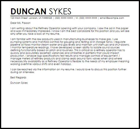 Sample Resume For Promotion refinery operator cover letter sample livecareer