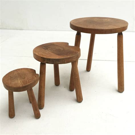 Rustic Nesting Tables by Rustic Oak Alpine Perriand Style Nesting Tables