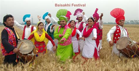 punjabi people doing bhangra dance on baisakhi festival