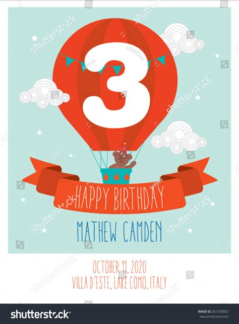balloon card template air balloon birthday card invitation stock vector