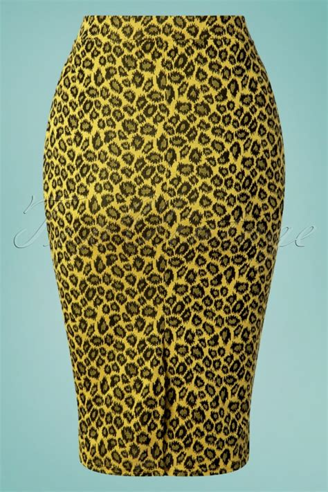Leopard Yellow Mustard 50s charly leopard pencil skirt in mustard yellow