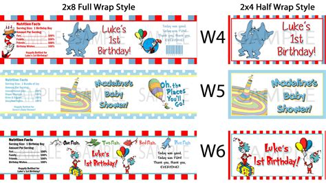 Thing 1 And Thing 2 Baby Shower Supplies by Dr Seuss Thing 1 2 Water Bottle Labels Birthday