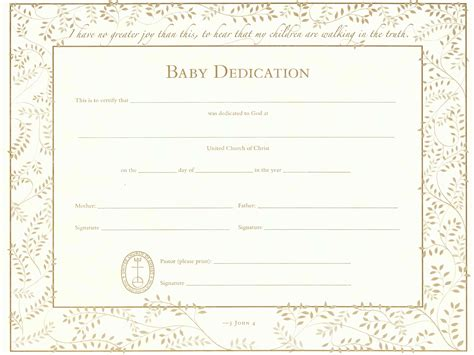 baby dedication certificates templates agreement format