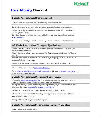 Moving Checklist Template 8 Free Pdf Documents Download Free Premium Templates Moving Checklist Template