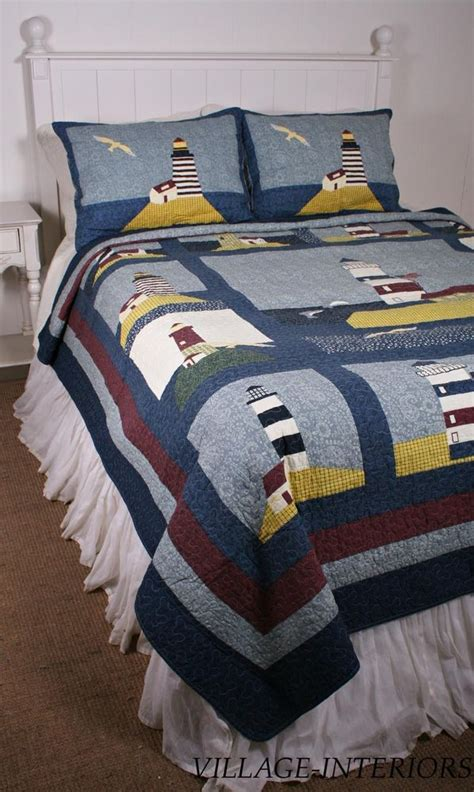 nautical coverlets lighthouse f queen quilt set nautical seaside cotton quilt