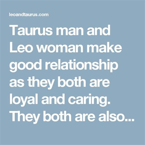 taurus man and leo woman make good relationship as they