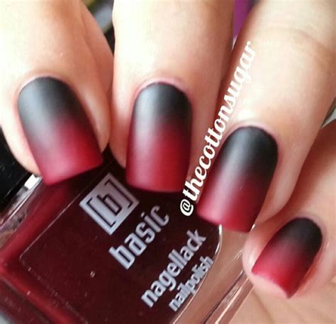 black  red ombre  tone dark gothic halloween nails