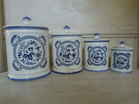 blue and white kitchen canisters vintage porcelain canister set made in japan blue and white
