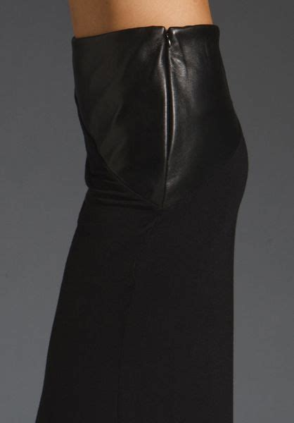 david lerner maxi tulip skirt with leather waist insert in