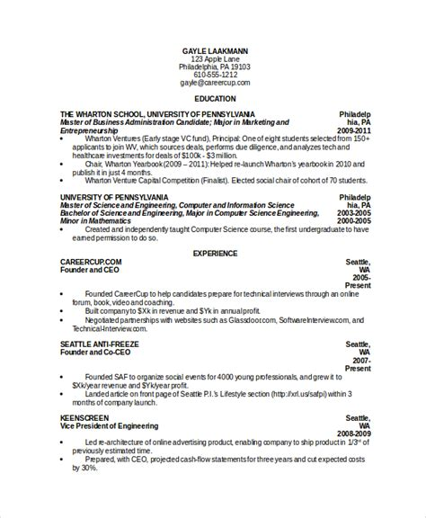 Computer Science Resumes by Computer Science Resume Exle 9 Free Word Pdf