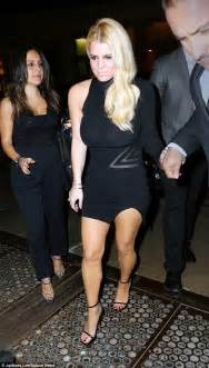 Racy date night braless jessica simpson pours her curves into little