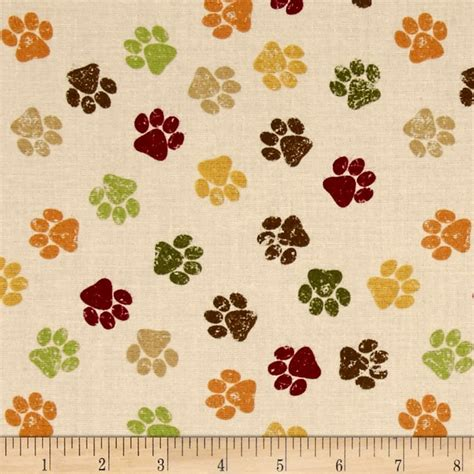 puppy fabric it s a s paw prints ivory discount designer fabric fabric