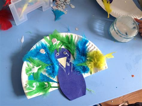 Peacock Paper Plate Craft - peacock craft clare s tots