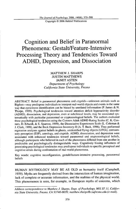 Cognition and Belief in ParanormalPhenomena by Kristy